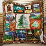 Camping Into The Forest Quilt Blanket