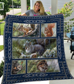 Squirrel On Trees Squirrel With Cone Quilt Blanket Great Customized Blanket Gifts For Birthday Christmas Thanksgiving