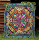 Mandala Butterfly Colorful Butterflies Motif Pattern Various Colors  Quilt Blanket Great Customized Blanket Gifts For Birthday Christmas Thanksgiving