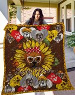 Boxer Boxer Mom Paws Sunflower Dog Wearing White Glasses Quilt Blanket Great Customized Blanket Gifts For Birthday Christmas Thanksgiving