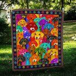 Colorful Dachshund Dog Quilt Blanket