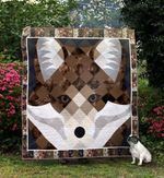 Fox Face Fox And Square Quilt Blanket Great Customized Gifts For Birthday Christmas Thanksgiving Anniversary