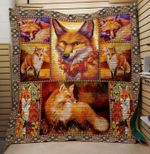 Fox In Sunset Quilt Blanket Great Customized Gifts For Birthday Christmas Thanksgiving Anniversary
