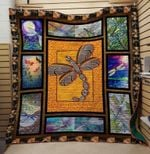Animal Dragonfly On Orange Background Quilt Blanket Great Customized Gifts For Birthday Christmas Thanksgiving Anniversary