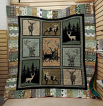 Deer Shadow In Wood Drawing Quilt Blanket Great Customized Gifts For Birthday Christmas Thanksgiving Anniversary
