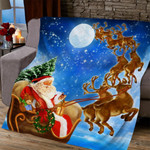 Merry Christmas Santa Claus On His Reindeer Sleigh Quilt Blanket Great Customized Blanket Gifts For Birthday Christmas Thanksgiving