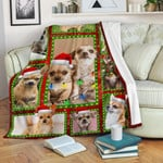 Chihuahua Christmas Version Quilt Blanket