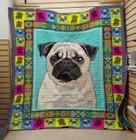 Pug Dog Cute Pug Quilt Blanket