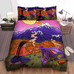 Hippie Girls Smoking Weed Under Trippy Planets Illustration Bed Sheets Spread Duvet Cover Bedding Sets