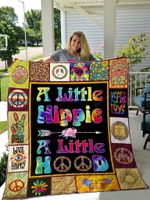 A Little Hippie Quilt Blanket Great Customized Gifts For Birthday Christmas Thanksgiving Perfect Gifts For Hippie