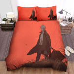 Mushishi Anime Art Ginko Red Background Bed Sheets Spread Comforter Duvet Cover Bedding Sets