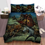 Stagecoach Horse Wagon Bed Sheets Spread Comforter Duvet Cover Bedding Sets