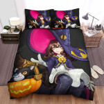 Halloween Witch The Magician Girl Has Black Cat Bed Sheets Spread Duvet Cover Bedding Sets