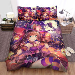 Halloween Witch Wearing Purple Spider Web Bed Sheets Spread Duvet Cover Bedding Sets