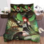 Halloween Green Hat Witch In Green Smoke Bed Sheets Spread Duvet Cover Bedding Sets