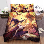 Halloween Witch And Jack O Lantern Creating Fire Bed Sheets Spread Duvet Cover Bedding Sets
