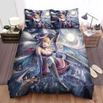 Halloween Sexy Witch Surfing In Sky Bed Sheets Spread Duvet Cover Bedding Sets
