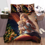 Hugging Bear Beside The Christmas Tree Bed Sheets Spread Duvet Cover Bedding Sets