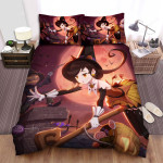 Halloween Jack O Lantern Catching Witch Toy Bed Sheets Spread Duvet Cover Bedding Sets