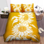 Sunflower Silhouette Yellow Background Bed Sheets Spread Comforter Duvet Cover Bedding Sets