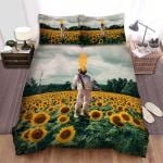 Sunflower Field Astronaut Smoking Face Bed Sheets Spread Comforter Duvet Cover Bedding Sets