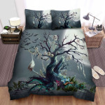 Halloween Skeletons On The Haunted Tree Artwork Bed Sheets Spread Duvet Cover Bedding Sets