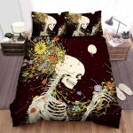 Halloween Skeleton & Flowers Blooming Artwork Bed Sheets Spread Duvet Cover Bedding Sets