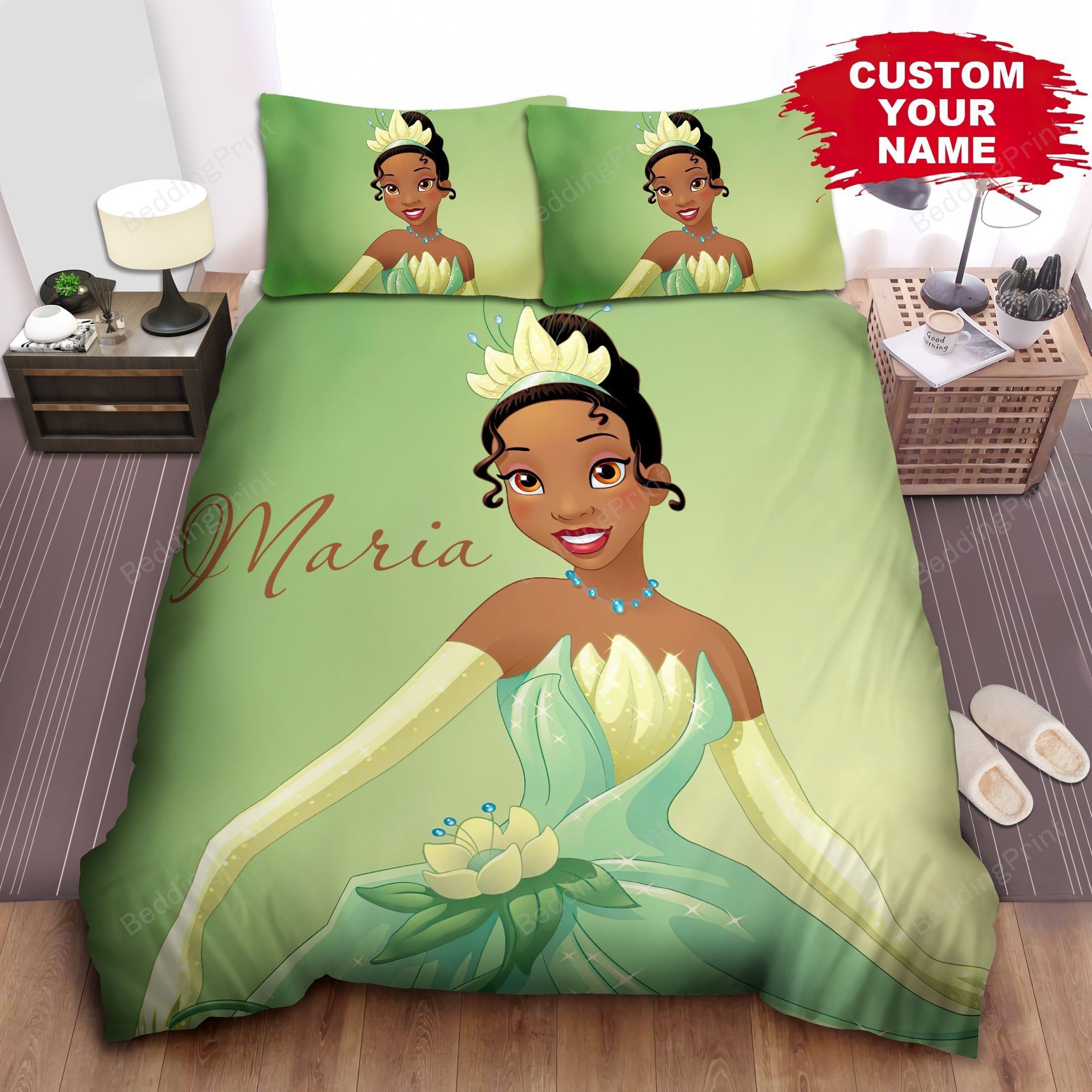 Personalized Disney Princess Tiana In Glorious Dress Bed Sheet Spread Duvet Cover Bedding Sets