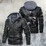 Tri Skull Chained By Smoke Motorcycle Leather Jacket
