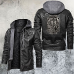 America's Highway Route 66 Leater Jacket