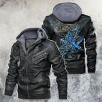 lineman skeleton leather jacket