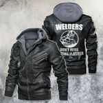 Welder Don't Mind Getting Flashed Motorcycle Leather Jacket