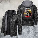 Motocycle And Wolf Club Leather Jacket