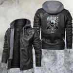 Marines Pride Death Before Dishonor SFBAMF Skull Leather Jacket