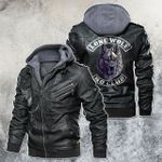 Lone Wolf No Club Motorcycle Rider Leather Jacket
