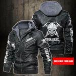 Personalized Name Lineman Skull Leather Jacket