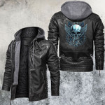 Blue Chained Skull Leather Jacket