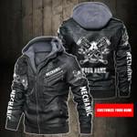 Personalized Name Mechanic Skull Leather Jacket