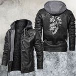 Skull And Glasses Clock Leather Jacket