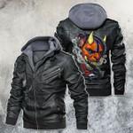 Japanese Oni Mask And Snake Motorcycle Leather Jacket