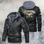 golden lineman skull Leather Jacket