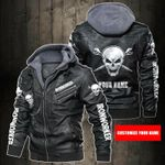 Personalized Name Iron Worker Skull Leather Jacket