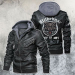 Fear The Wild Lone Wolf Motorcycle Rider Leather Jacket