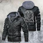 Born To Be Viking Warrior Scandinavian Motorcycle Rider Leather Jacket