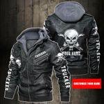 Personalized Name Trucker Skull Leather Jacket
