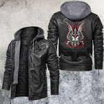 Bloody Cross Skulls And Wings Leather Jacket