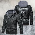 If You Kick Me When I'm Down You Better Pray I Don't Get Up US Army Skull Motorcycle Leather Jacket