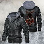 Hell Army Skull Motorcycle Leather Jacket
