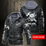 Personalized Name Roofer Skull Leather Jacket