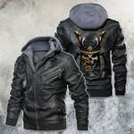 Samurai Skull Golden Battle Mask Motorcycle Leather Jacket